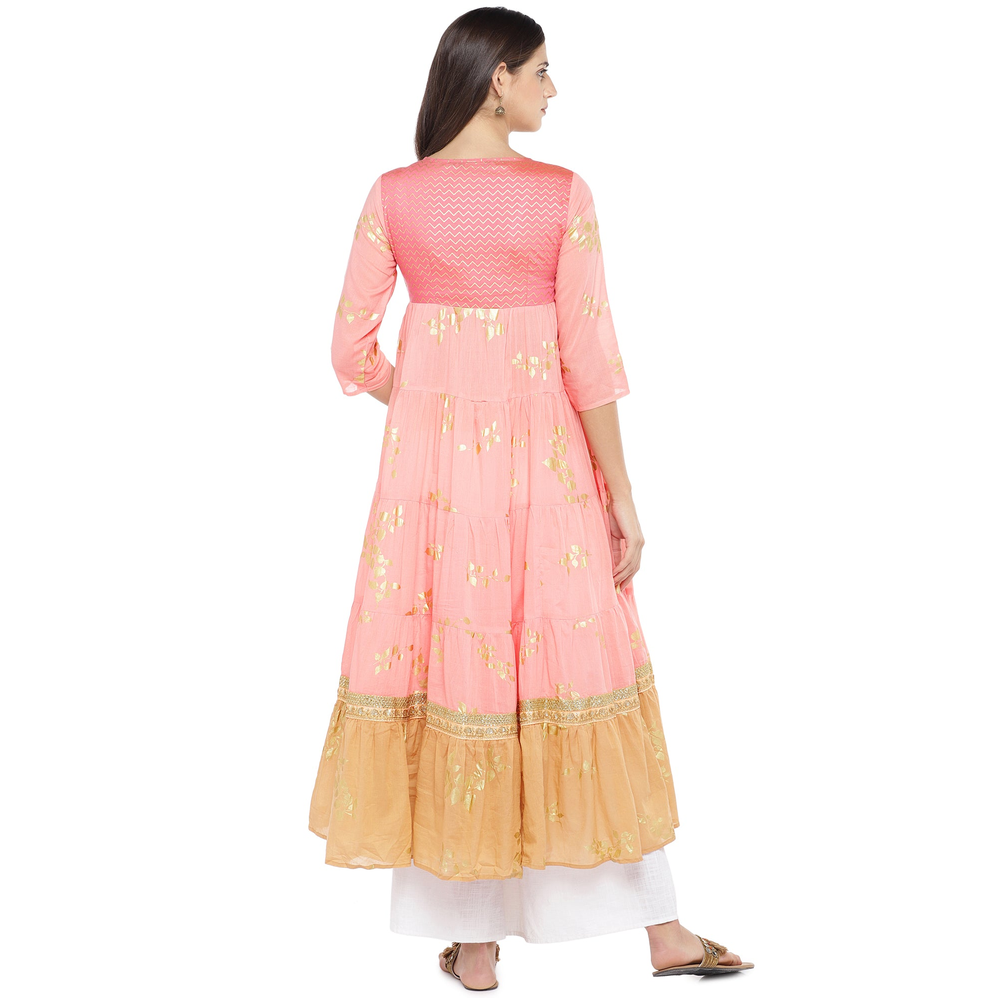 Peach-Coloured & Mustard Yellow Colourblocked Anarkali Kurta-3