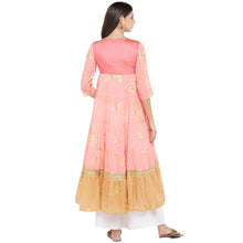Load image into Gallery viewer, Peach-Coloured & Mustard Yellow Colourblocked Anarkali Kurta-3
