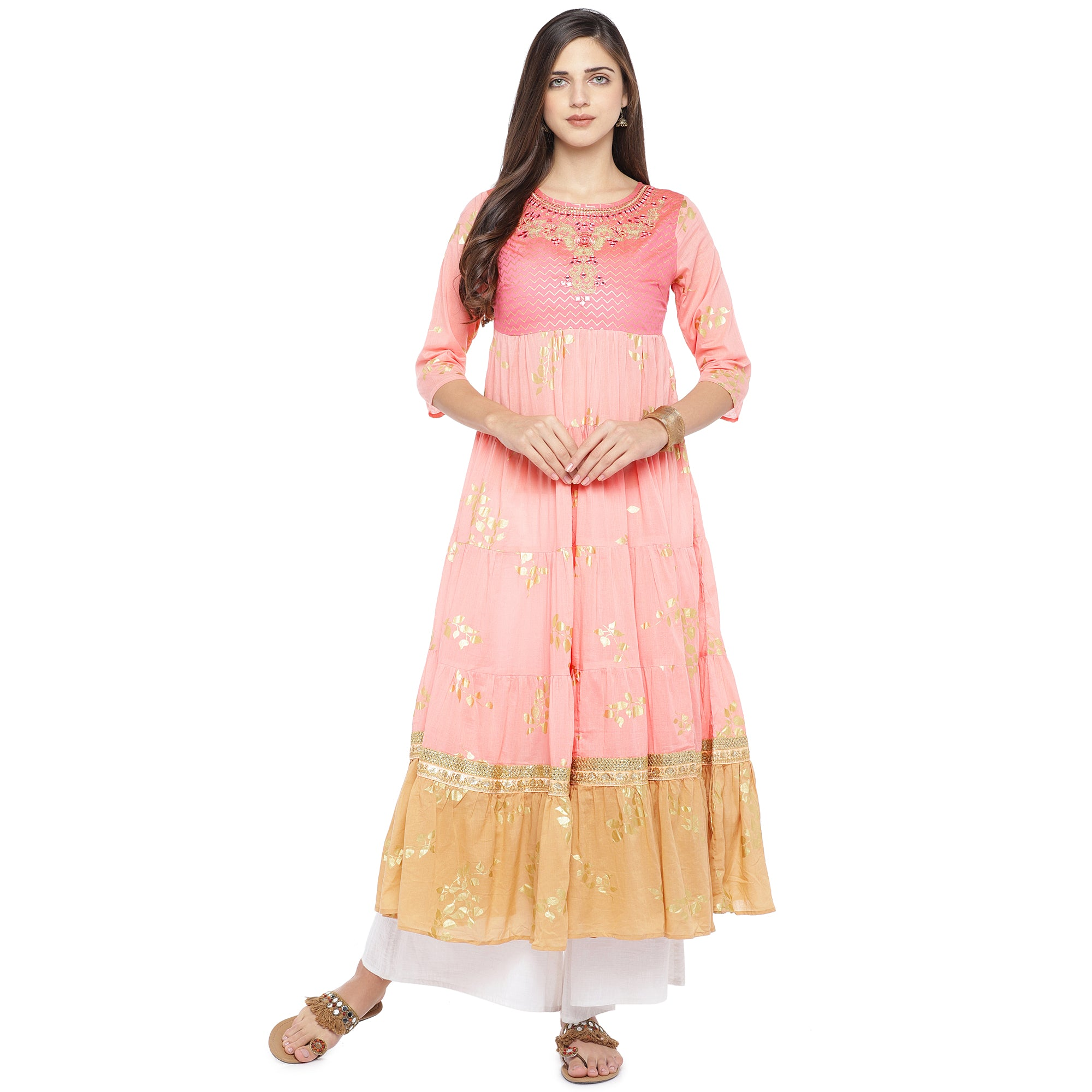 Peach-Coloured & Mustard Yellow Colourblocked Anarkali Kurta-4