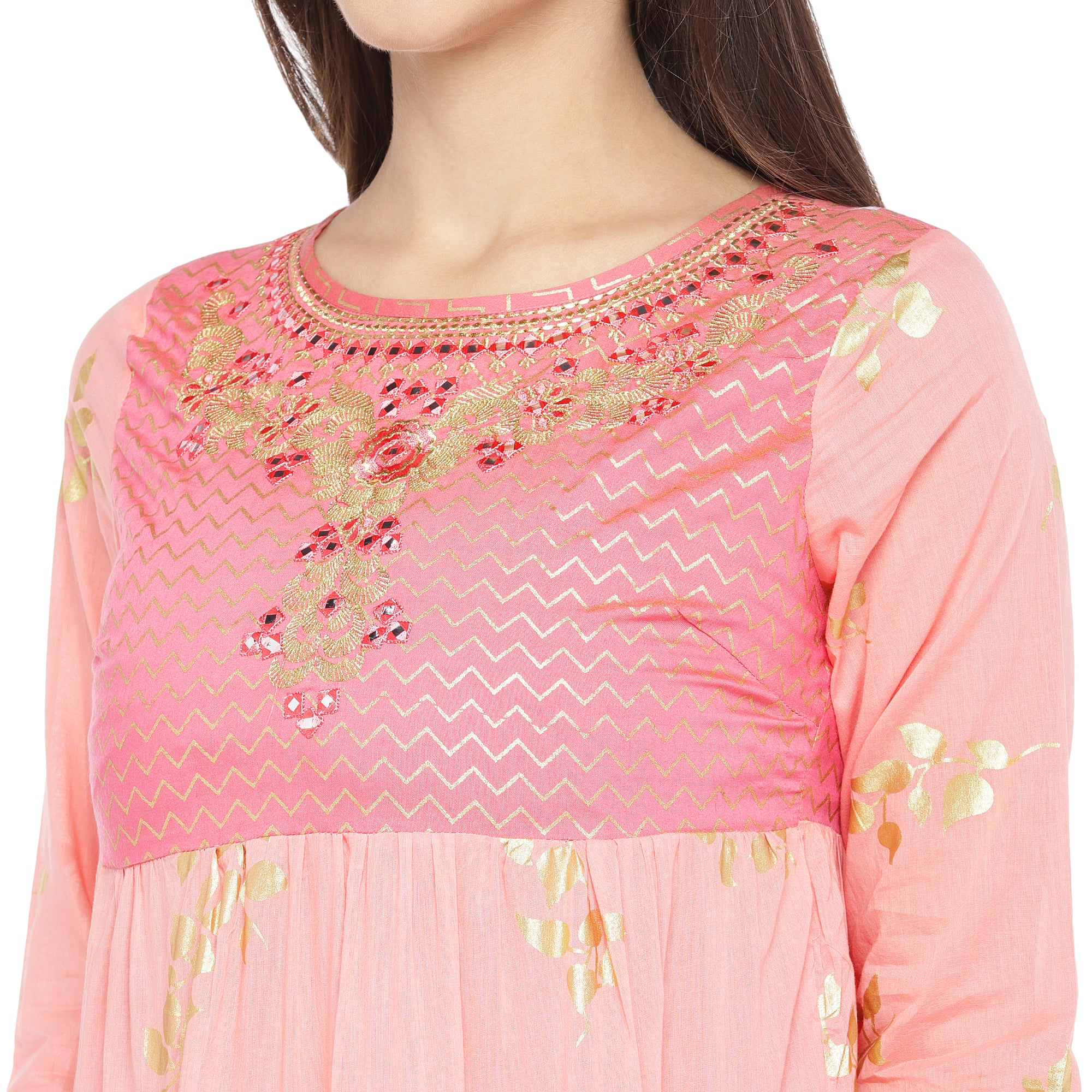 Peach-Coloured & Mustard Yellow Colourblocked Anarkali Kurta-5