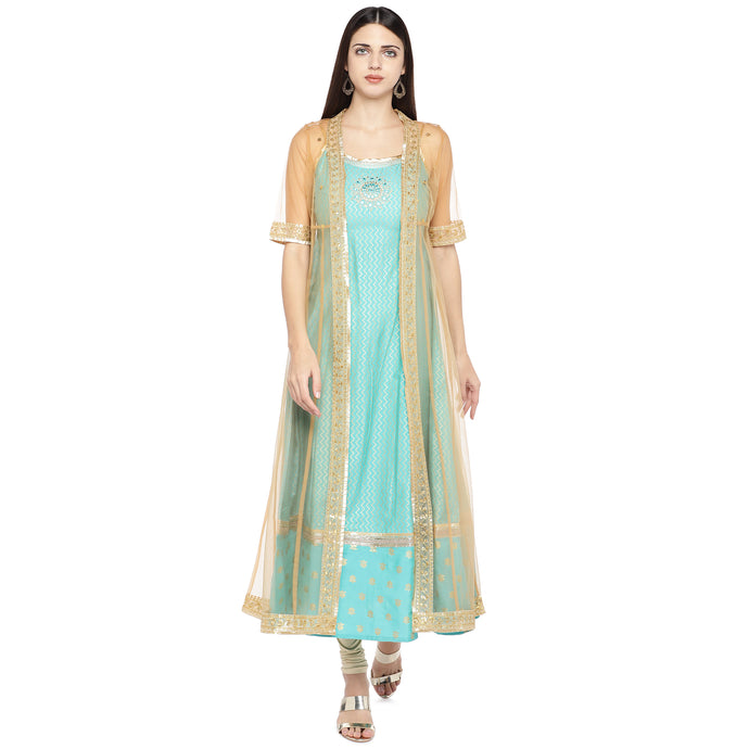 Turquoise Blue Printed Layered A-Line Kurta-1
