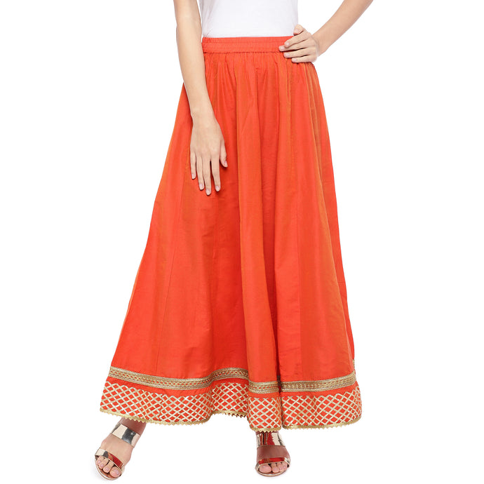 Orange Solid Flared Maxi Ethnic Skirt-1