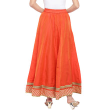Load image into Gallery viewer, Orange Solid Flared Maxi Ethnic Skirt-3