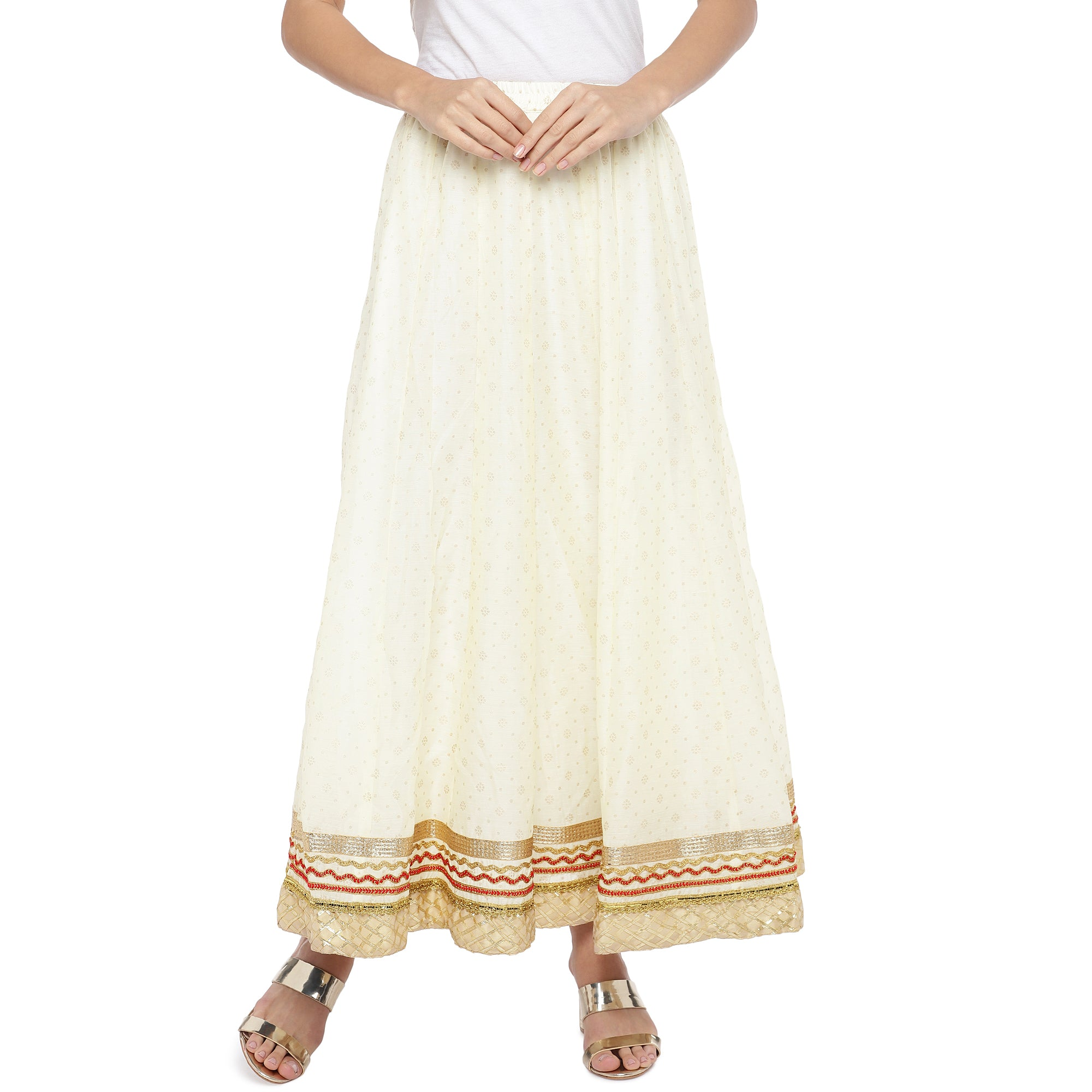 Cream-Coloured Self-Design Flared Maxi Ethnic Skirt-1