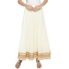Load image into Gallery viewer, Cream-Coloured Self-Design Flared Maxi Ethnic Skirt-1
