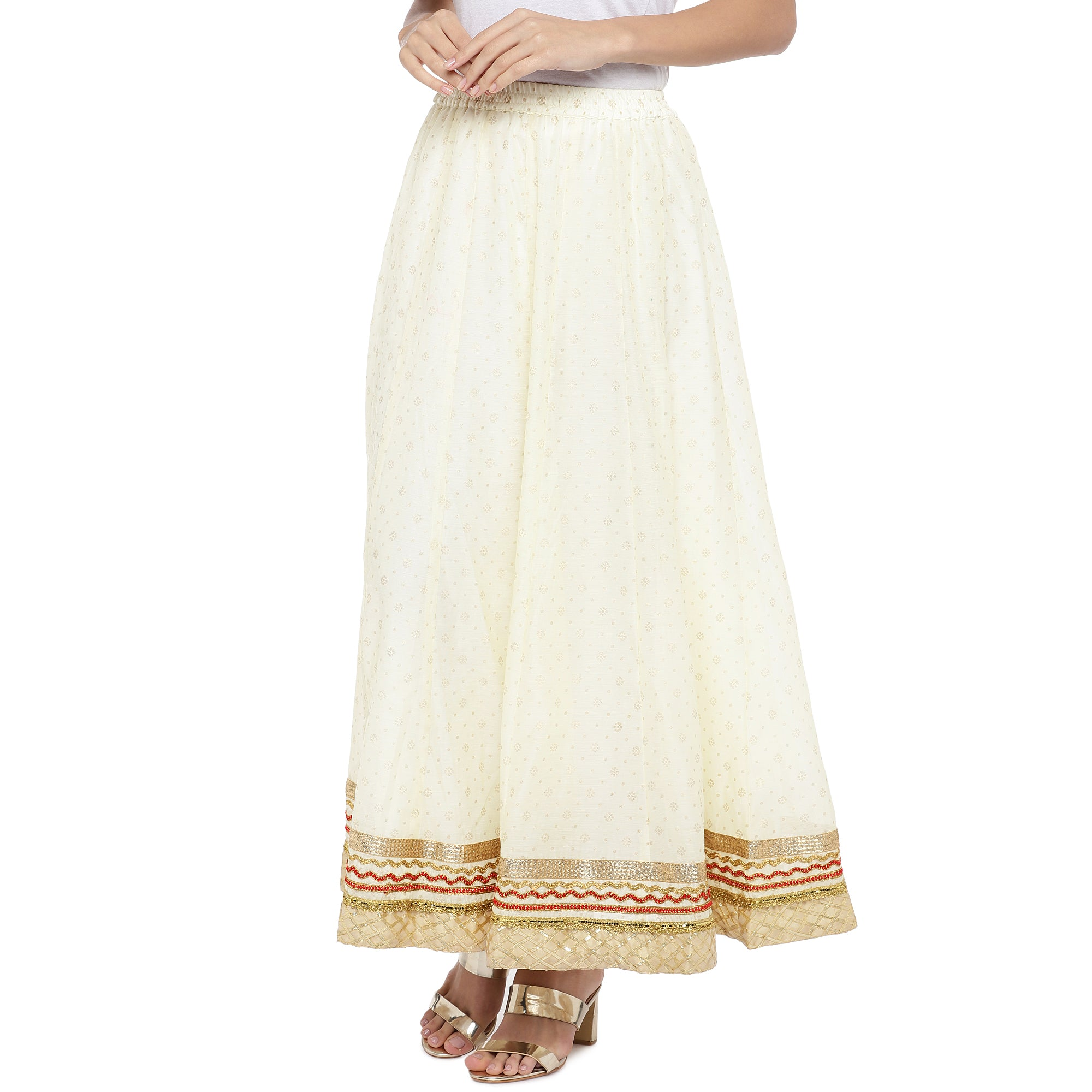 Cream-Coloured Self-Design Flared Maxi Ethnic Skirt-2