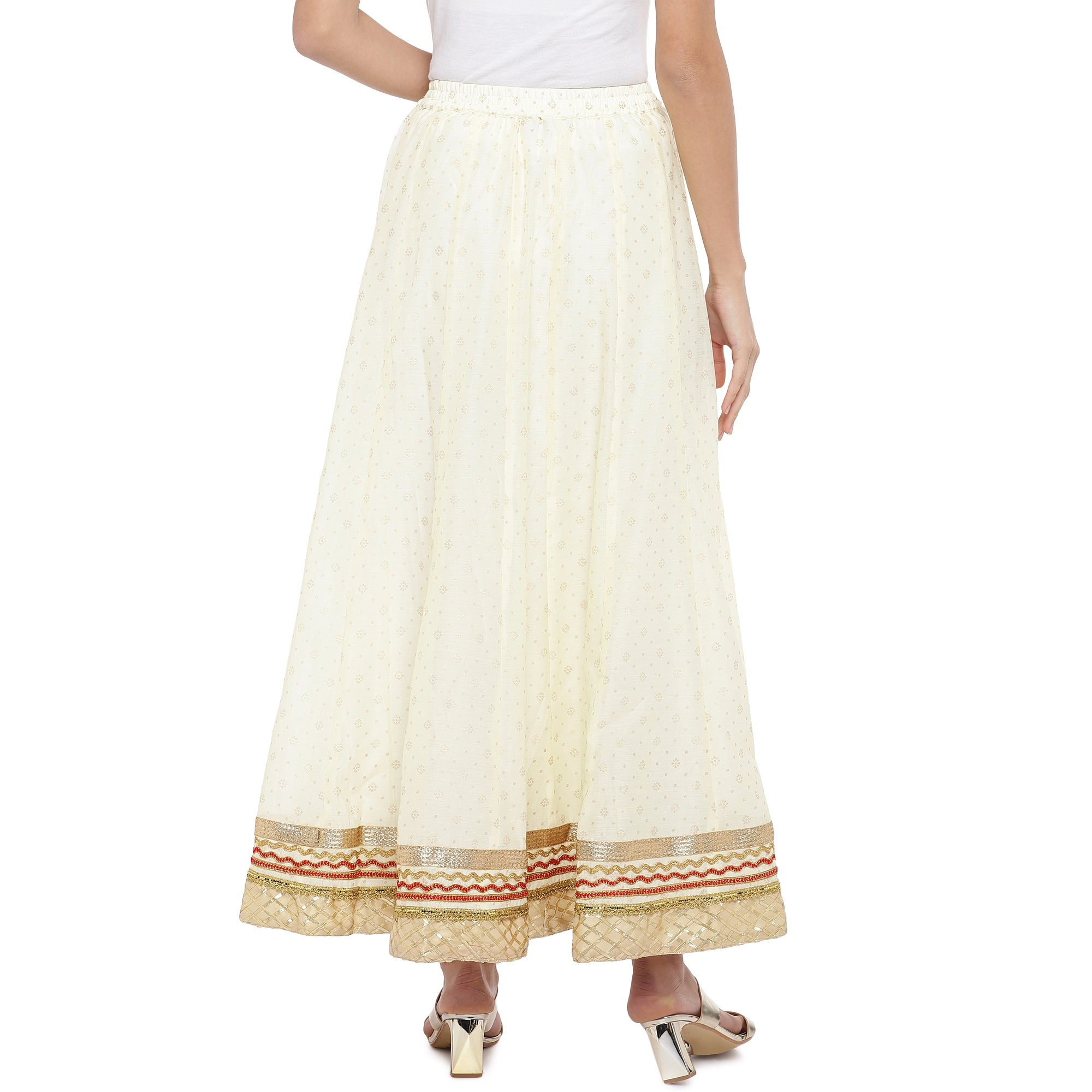 Cream-Coloured Self-Design Flared Maxi Ethnic Skirt-3