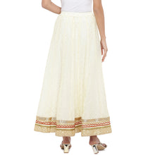 Load image into Gallery viewer, Cream-Coloured Self-Design Flared Maxi Ethnic Skirt-3