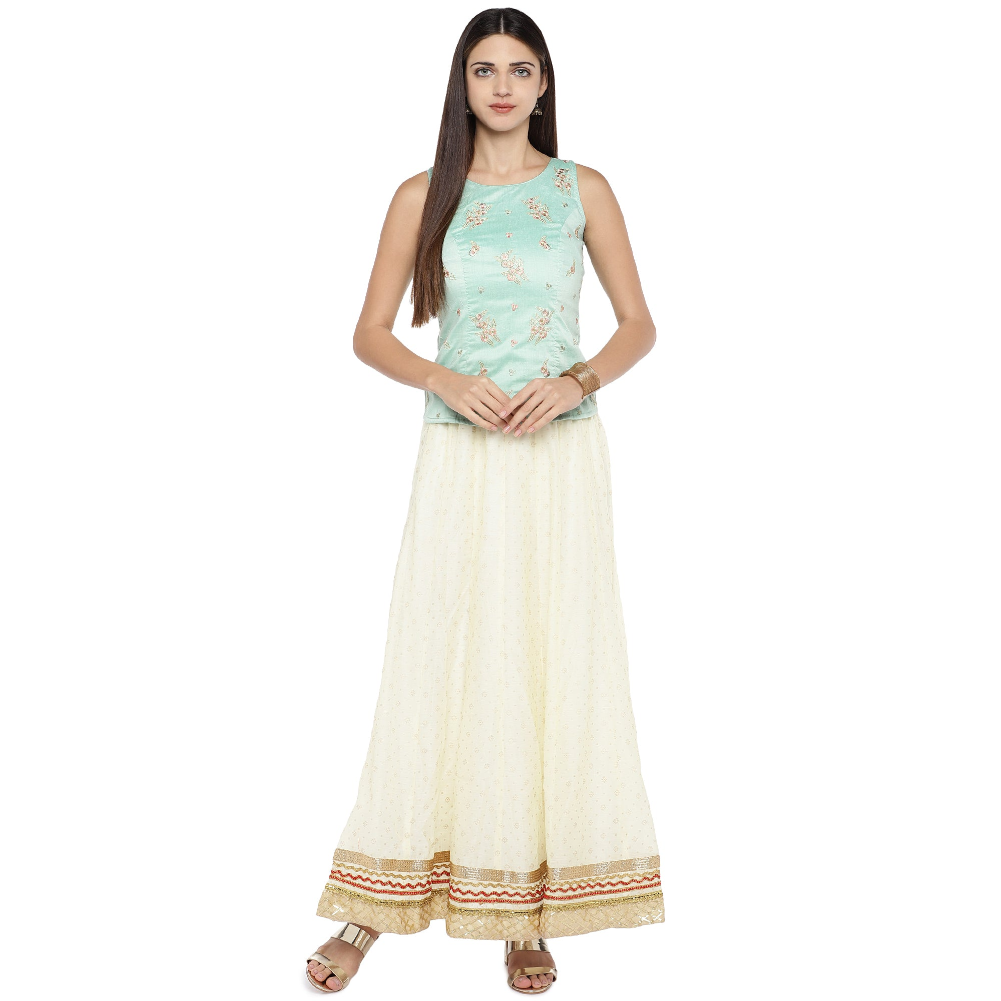 Cream-Coloured Self-Design Flared Maxi Ethnic Skirt-4