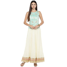 Load image into Gallery viewer, Cream-Coloured Self-Design Flared Maxi Ethnic Skirt-4