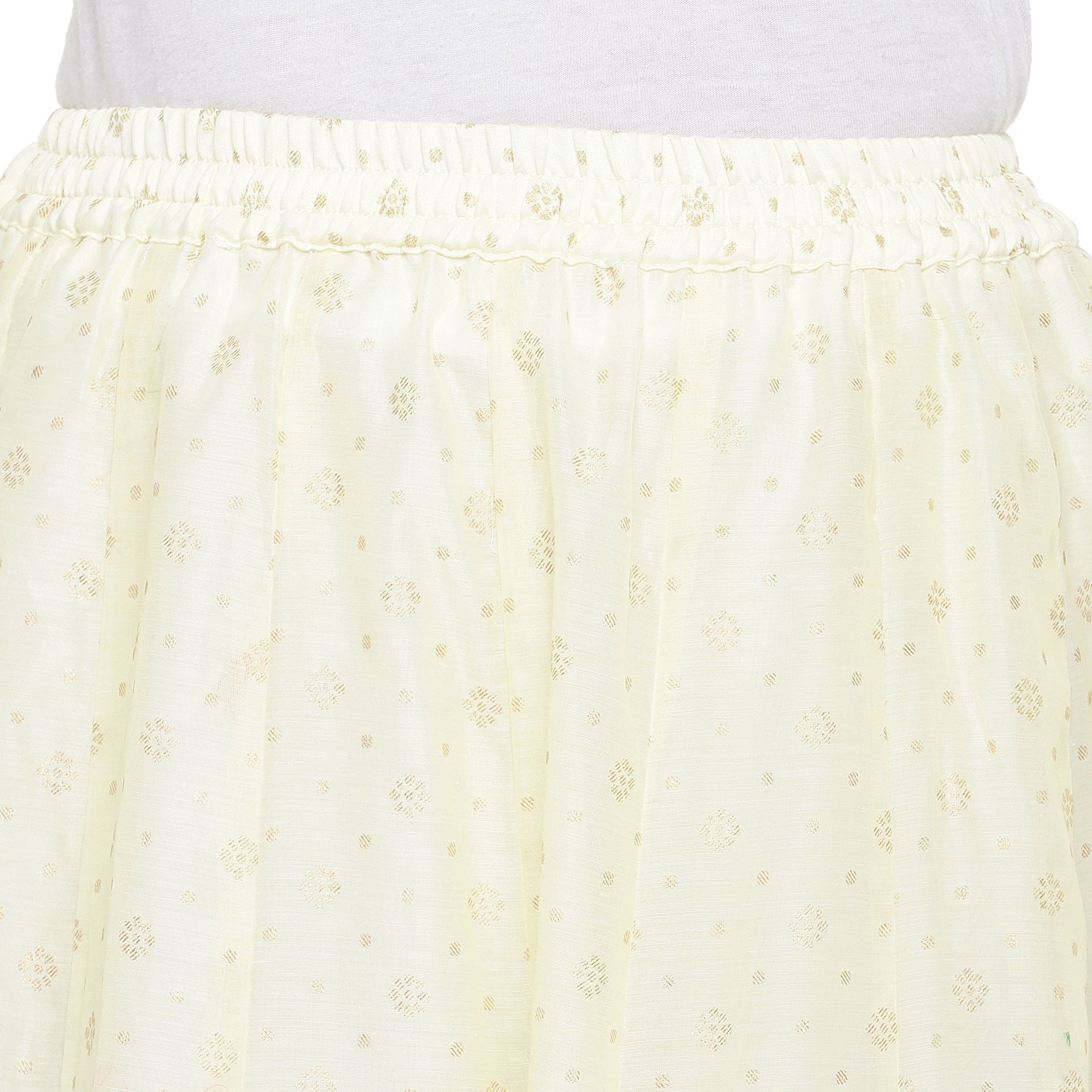 Cream-Coloured Self-Design Flared Maxi Ethnic Skirt-5