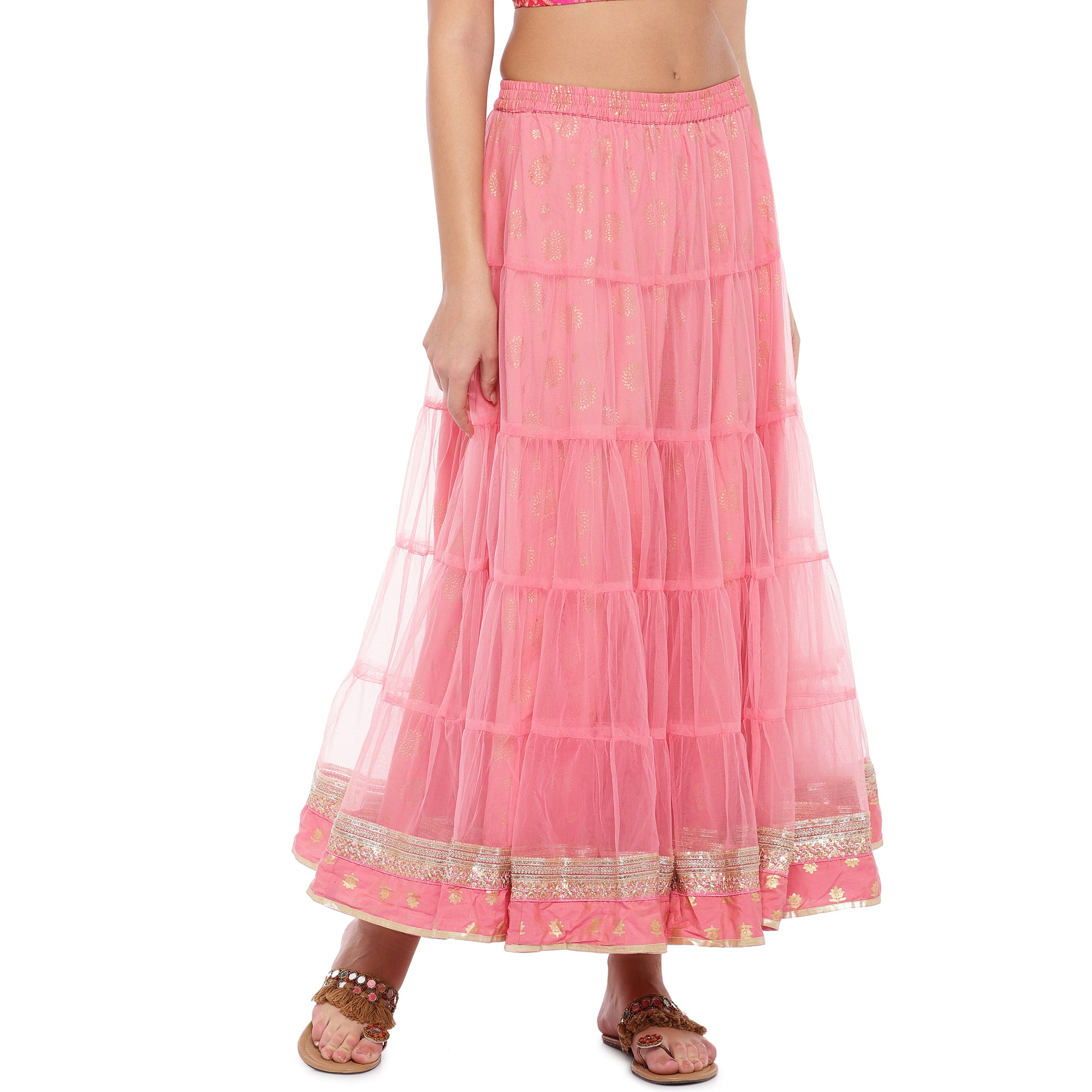 Peach Lace Maxi Skirt-1