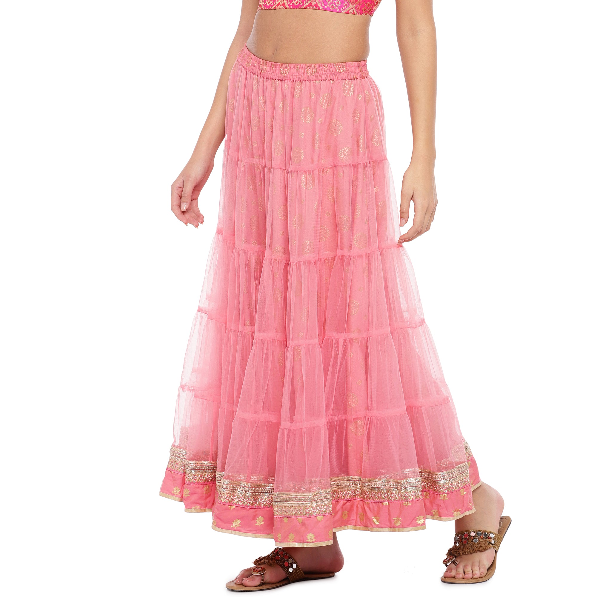 Peach Lace Maxi Skirt-2