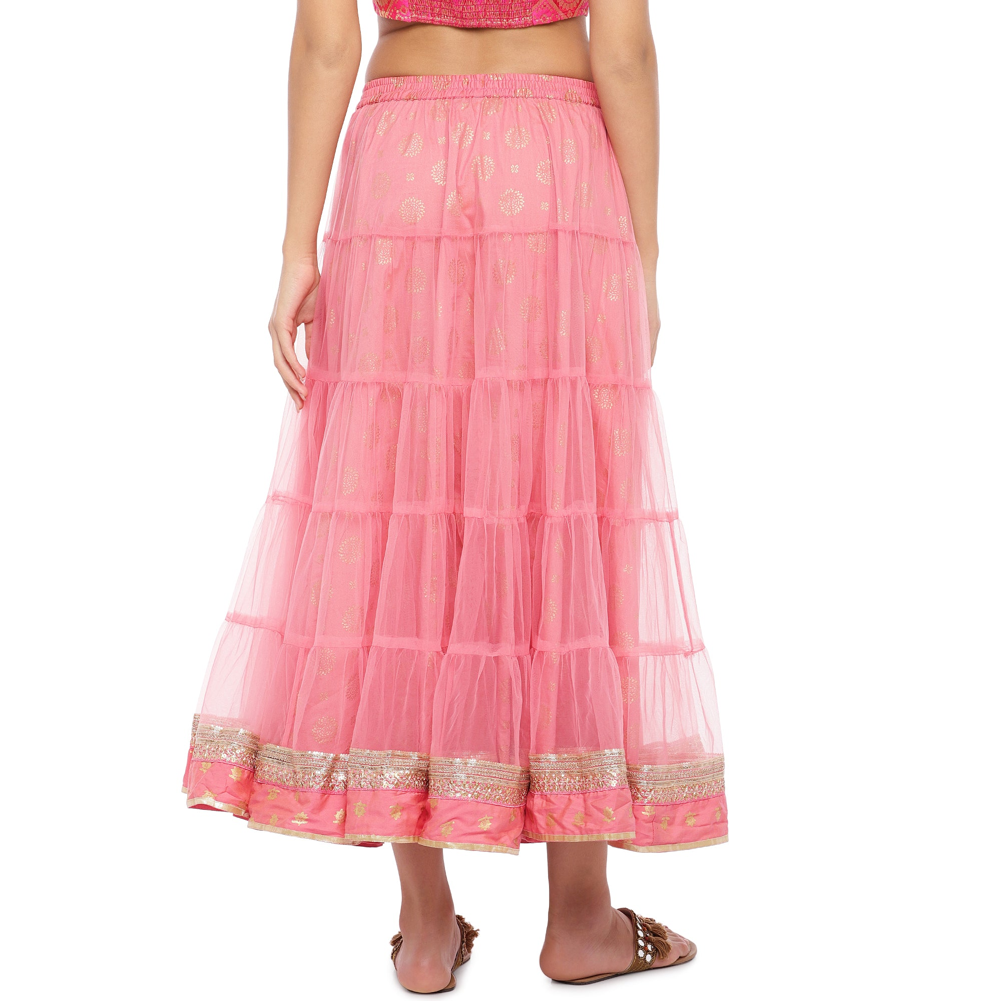 Peach Lace Maxi Skirt-3