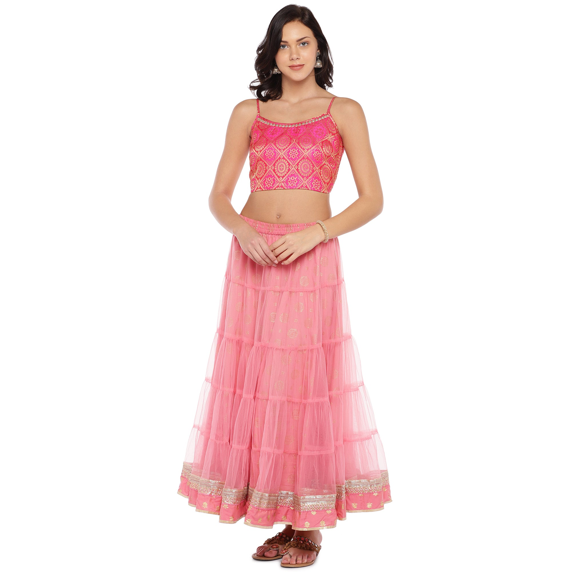Peach Lace Maxi Skirt-4