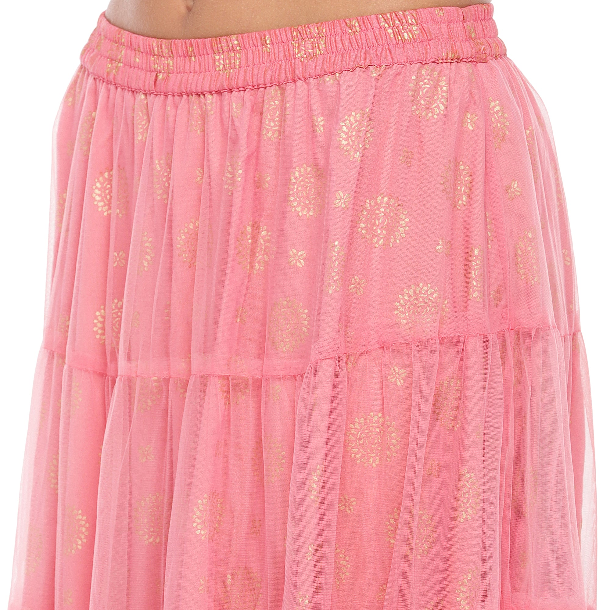 Peach Lace Maxi Skirt-5