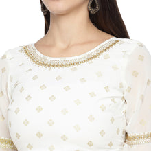 Load image into Gallery viewer, White & Gold-Toned Printed Fusion Kurta-5