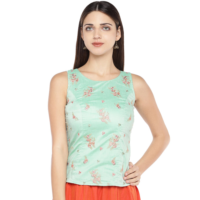 Sea Green Embroidered Top-1