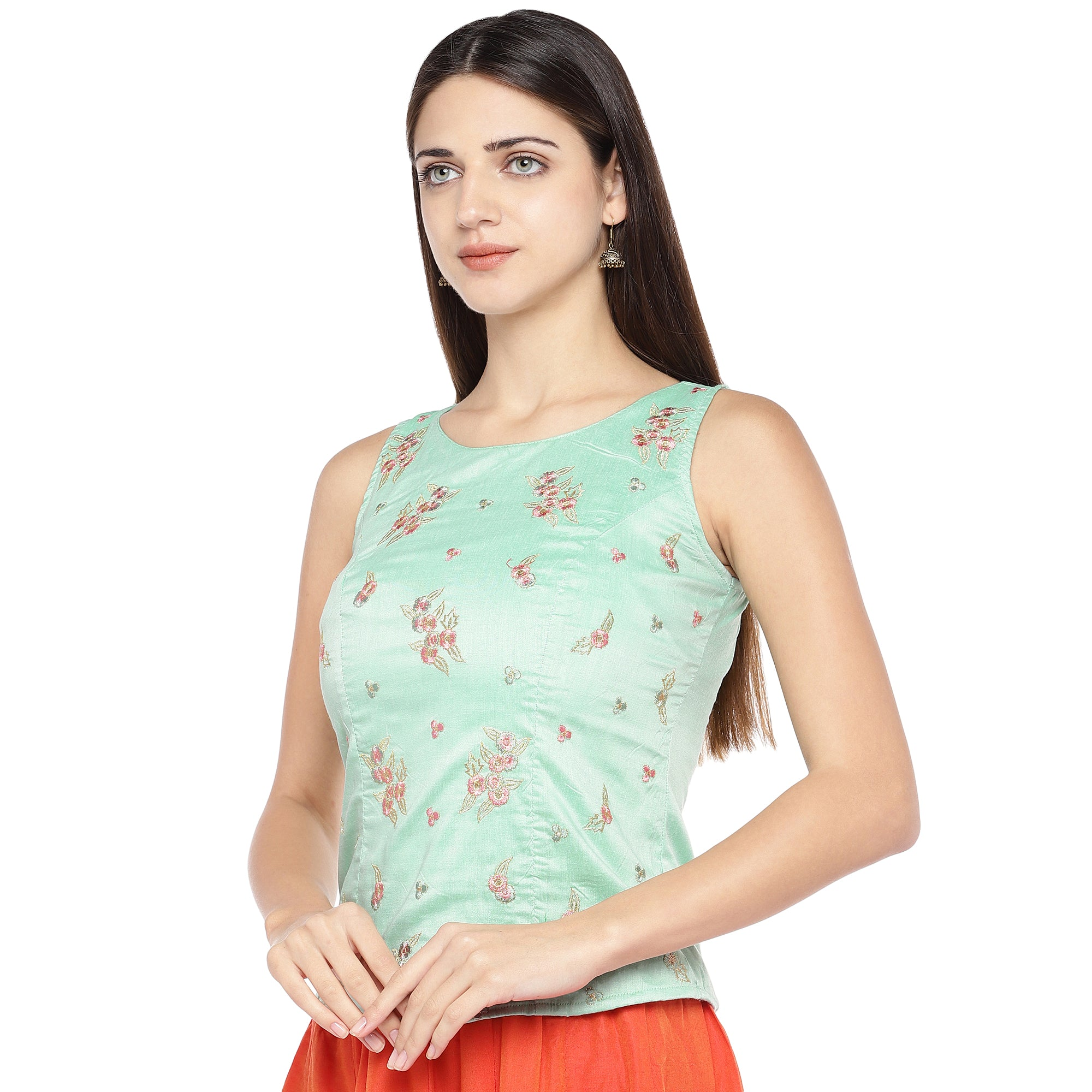 Sea Green Embroidered Top-2
