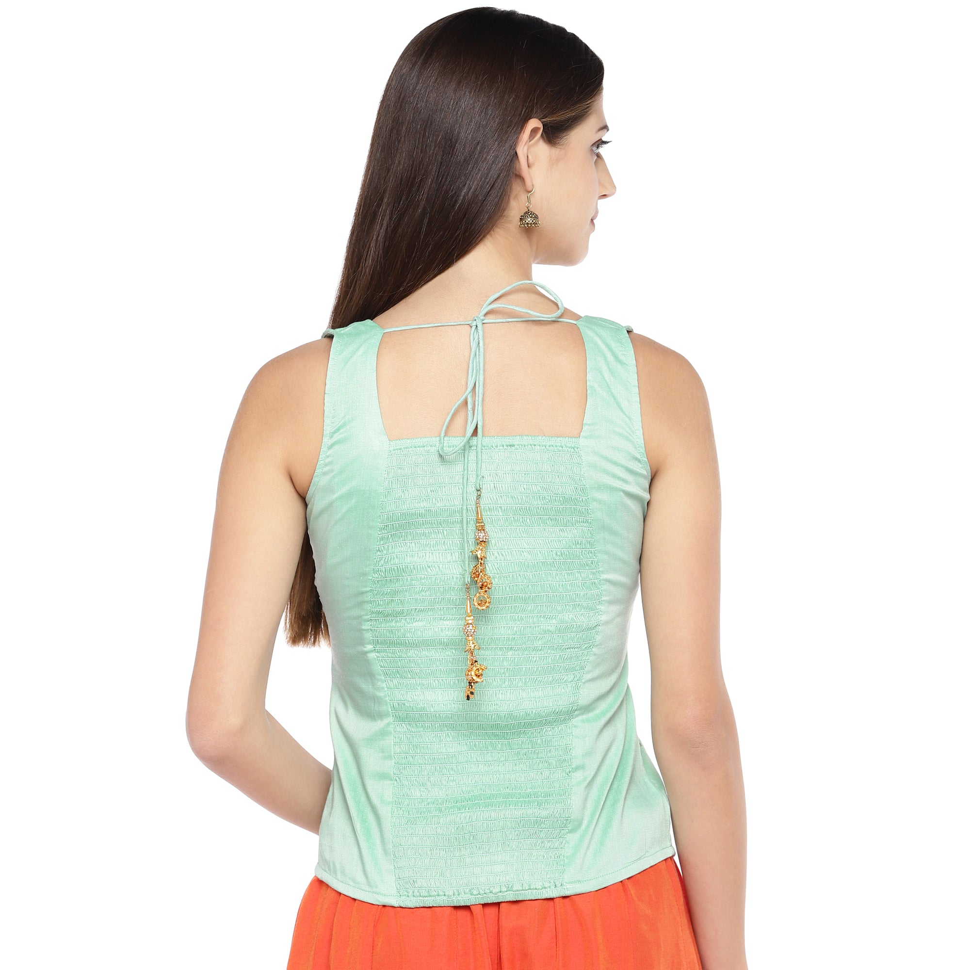 Sea Green Embroidered Top-3
