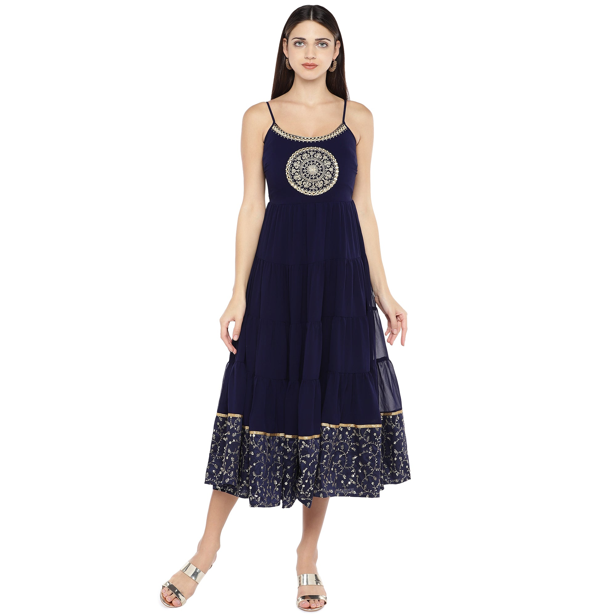 Navy Blue Embroidered Empire Dress-1