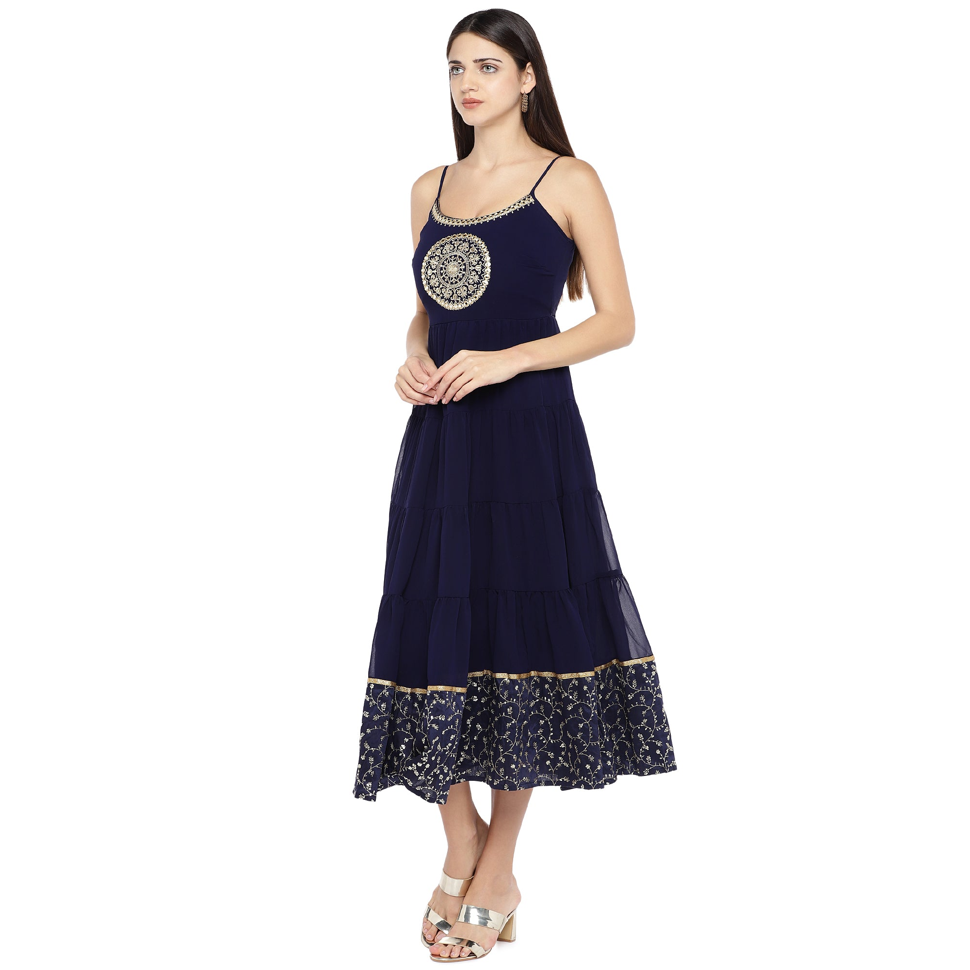 Navy Blue Embroidered Empire Dress-2