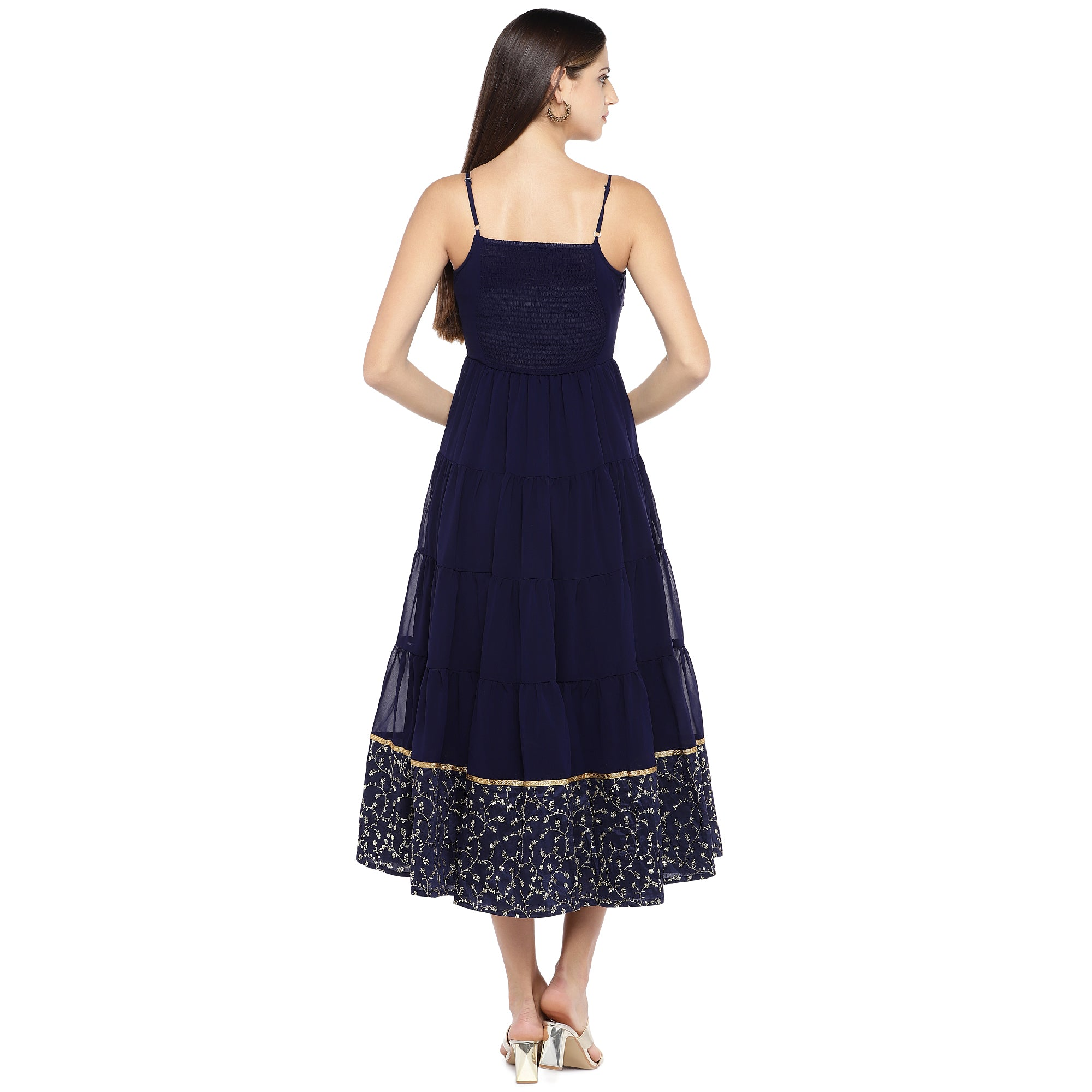 Navy Blue Embroidered Empire Dress-3