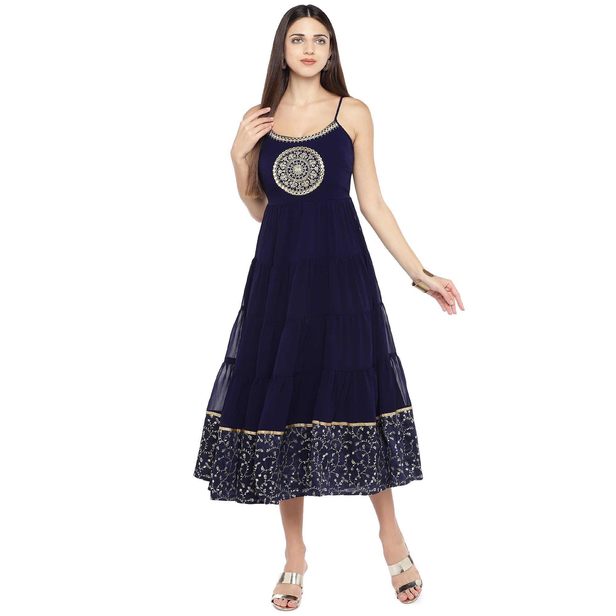 Navy Blue Embroidered Empire Dress-4