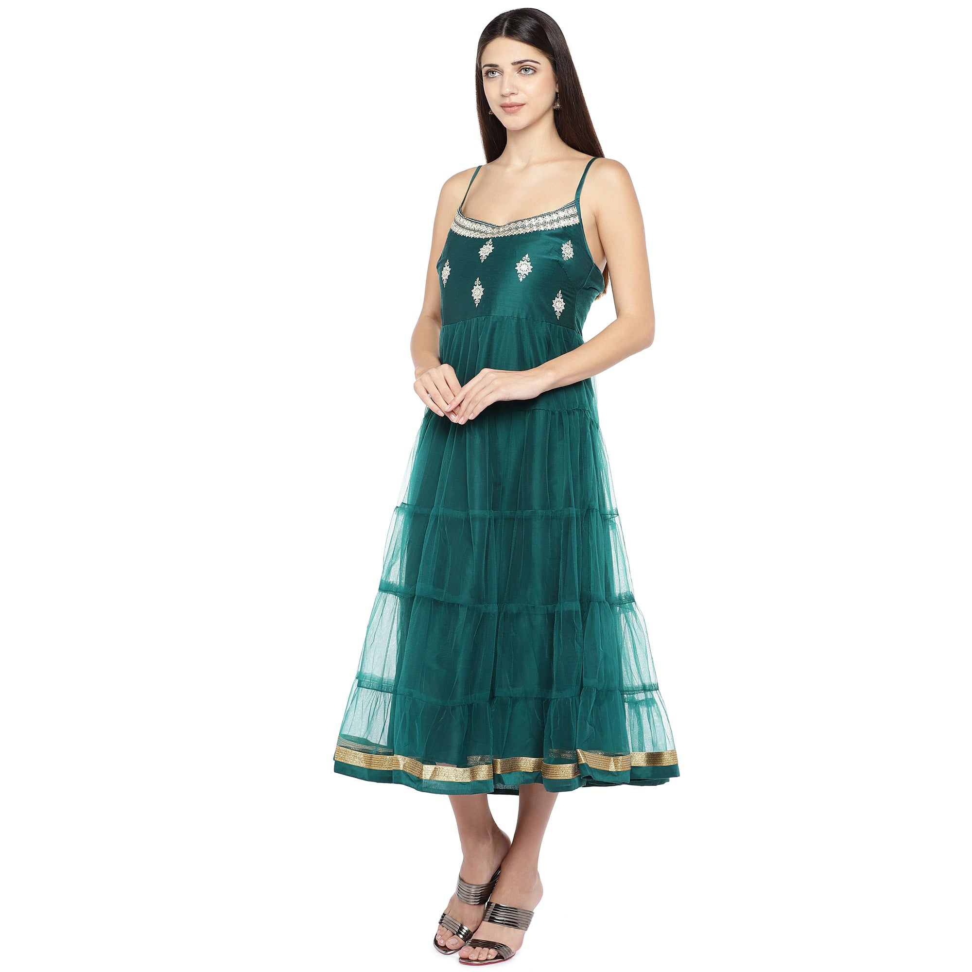 Teal Green Self Design Empire Dress-2