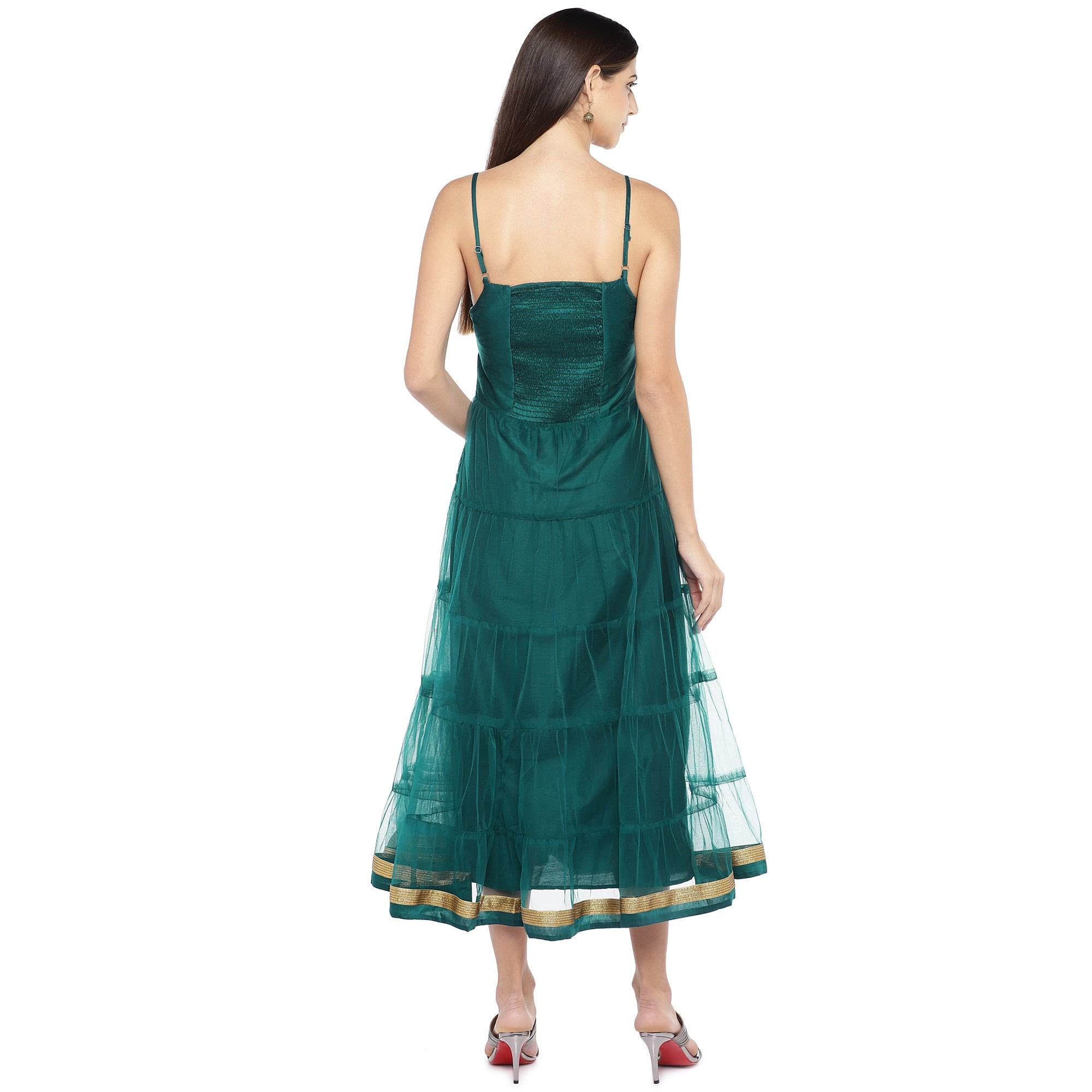 Teal Green Self Design Empire Dress-3
