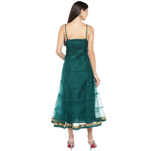 Load image into Gallery viewer, Teal Green Self Design Empire Dress-3
