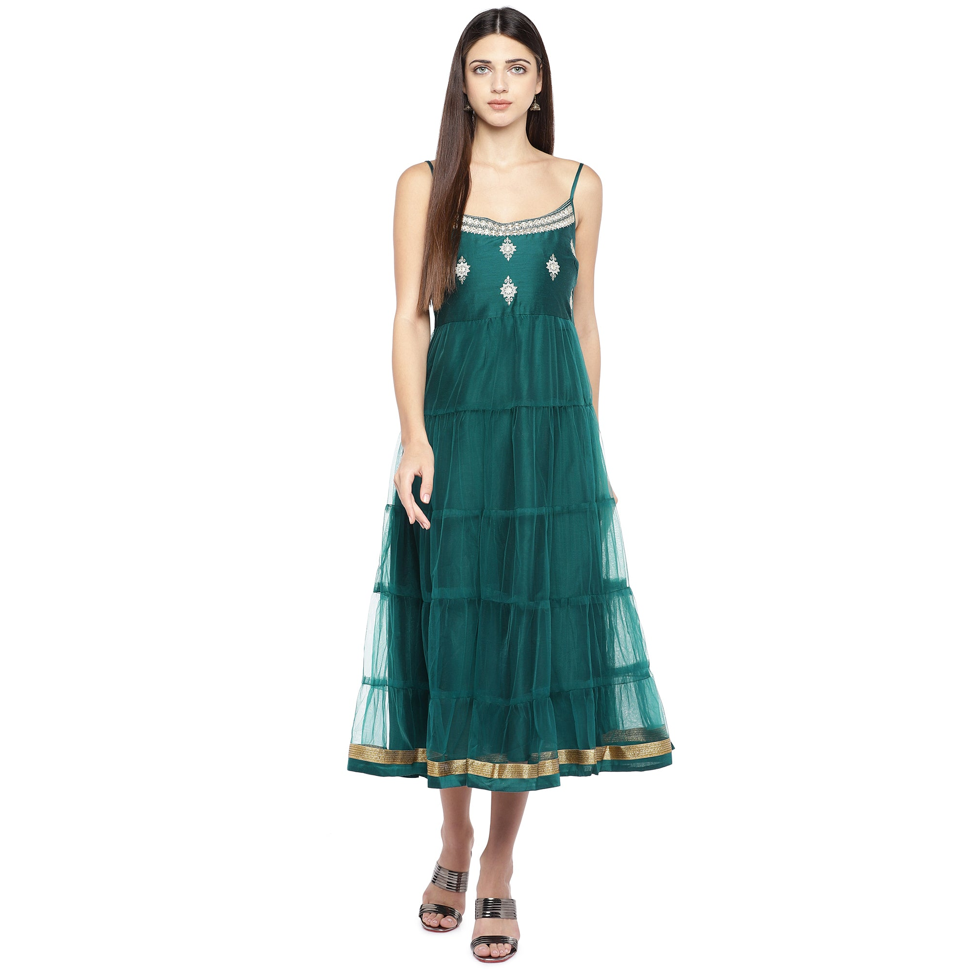 Teal Green Self Design Empire Dress-4