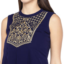 Load image into Gallery viewer, Navy Blue Yoke Design A-Line Kurta-5