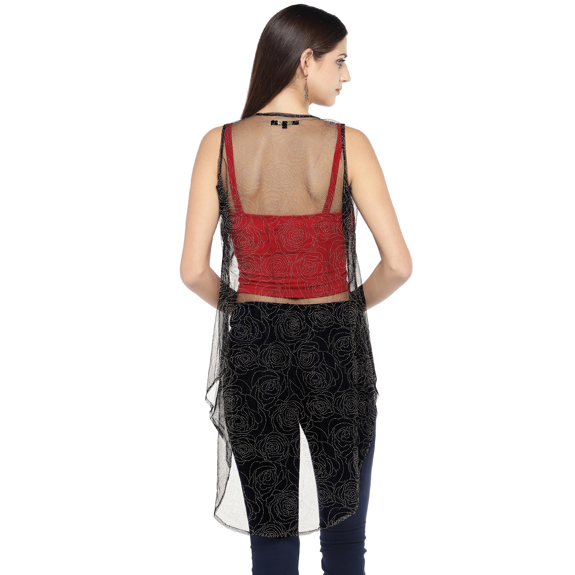 Black Self Design Open Front Shrug-3