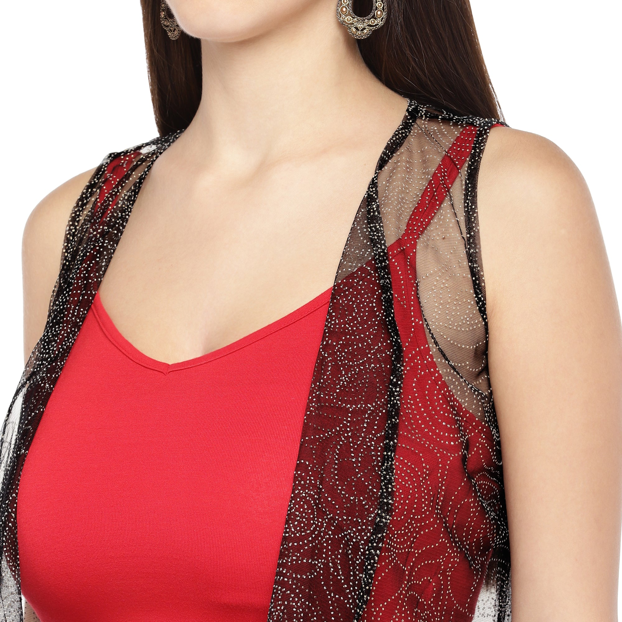 Black Self Design Open Front Shrug-5