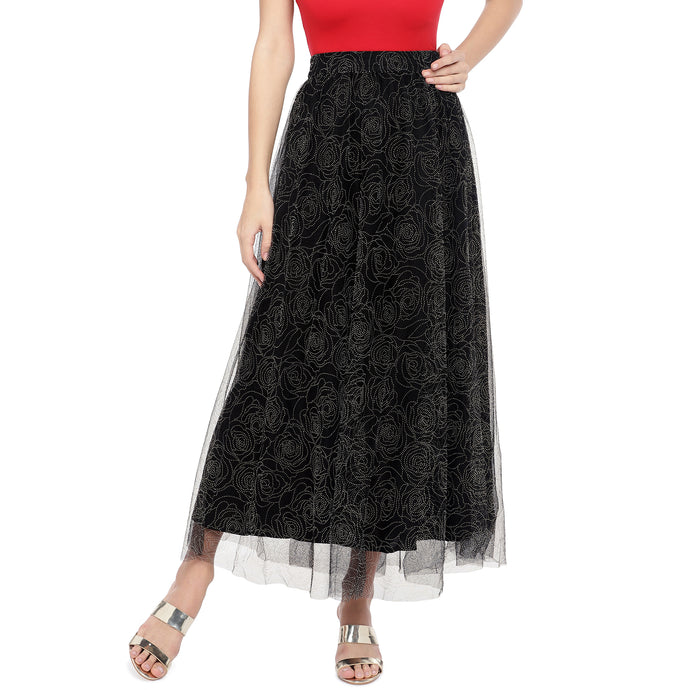 Black Embellished Flared Maxi Ethnic Skirt-1