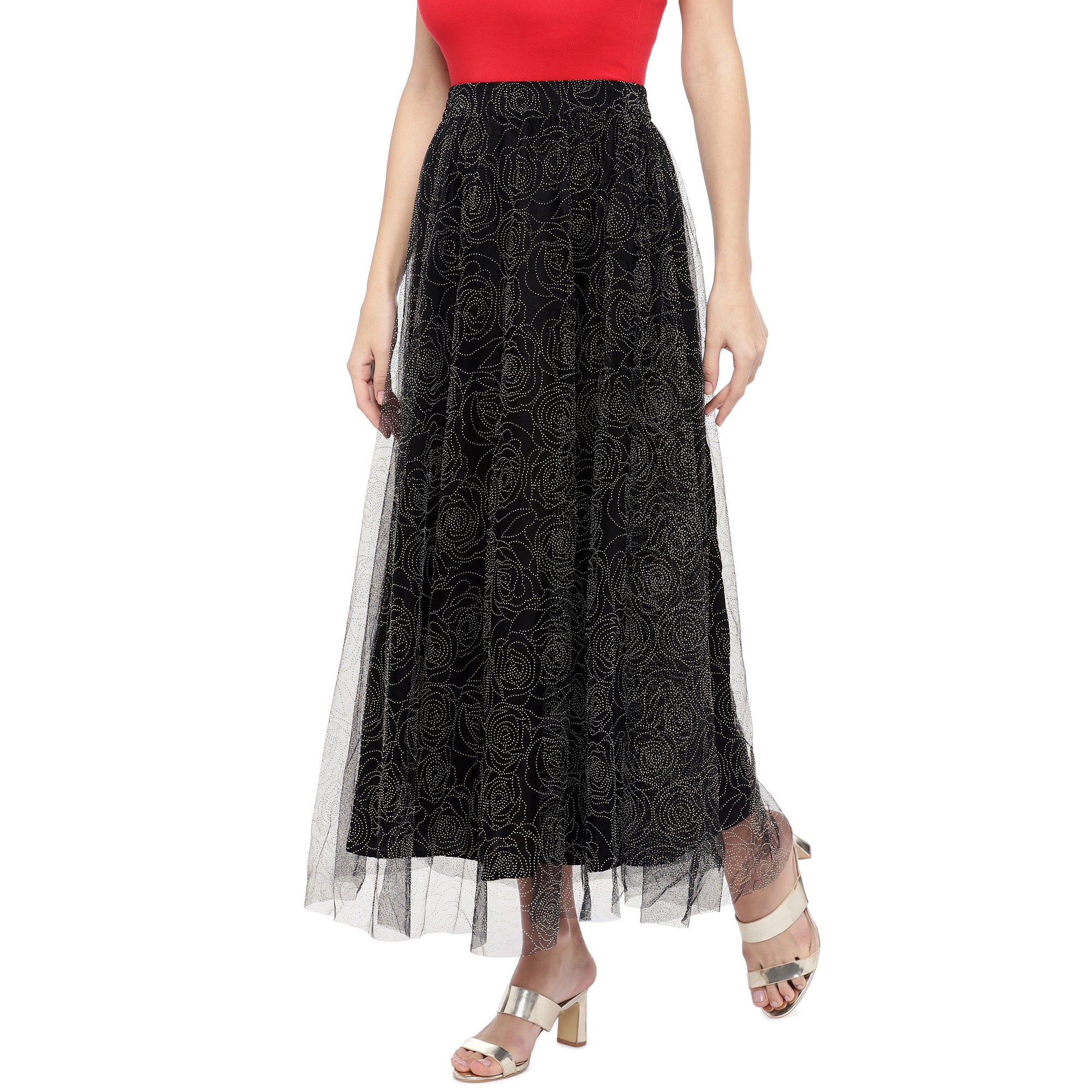 Black Embellished Flared Maxi Ethnic Skirt-2