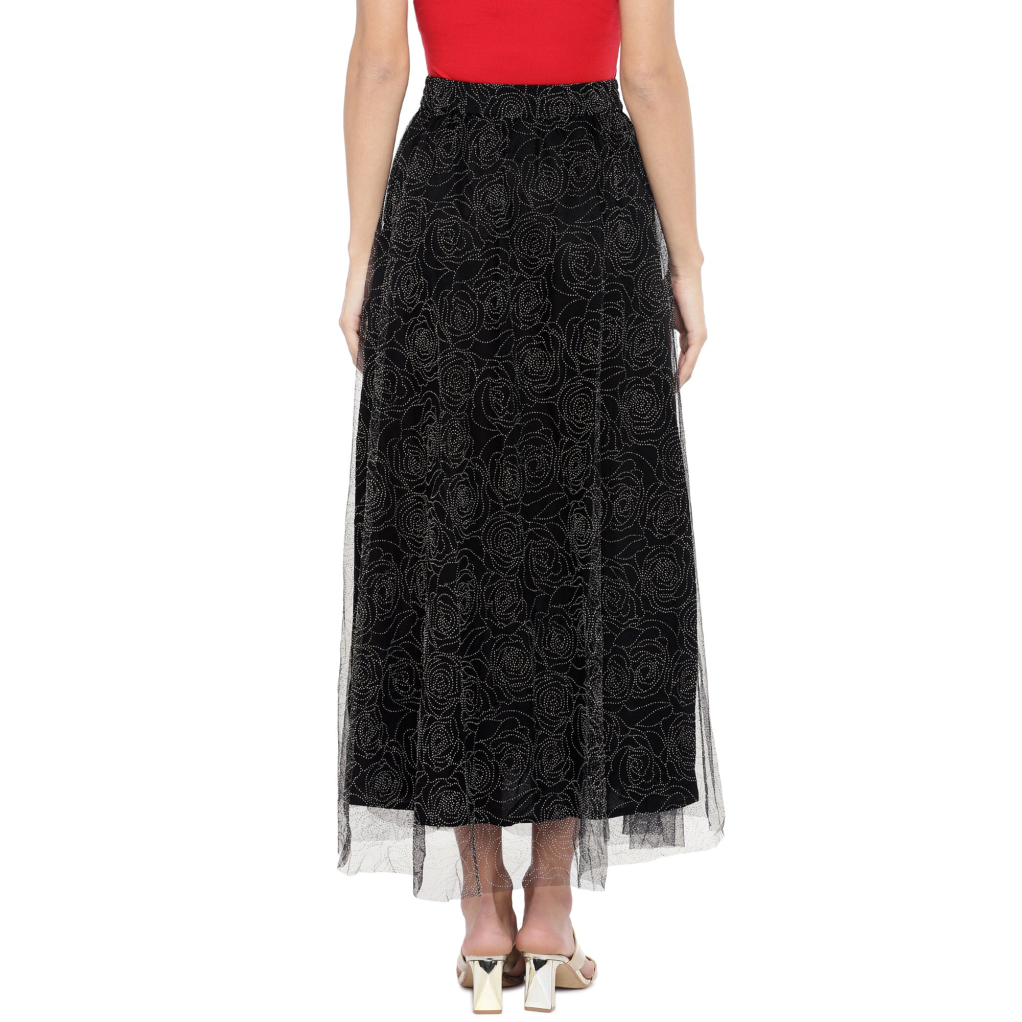 Black Embellished Flared Maxi Ethnic Skirt-3