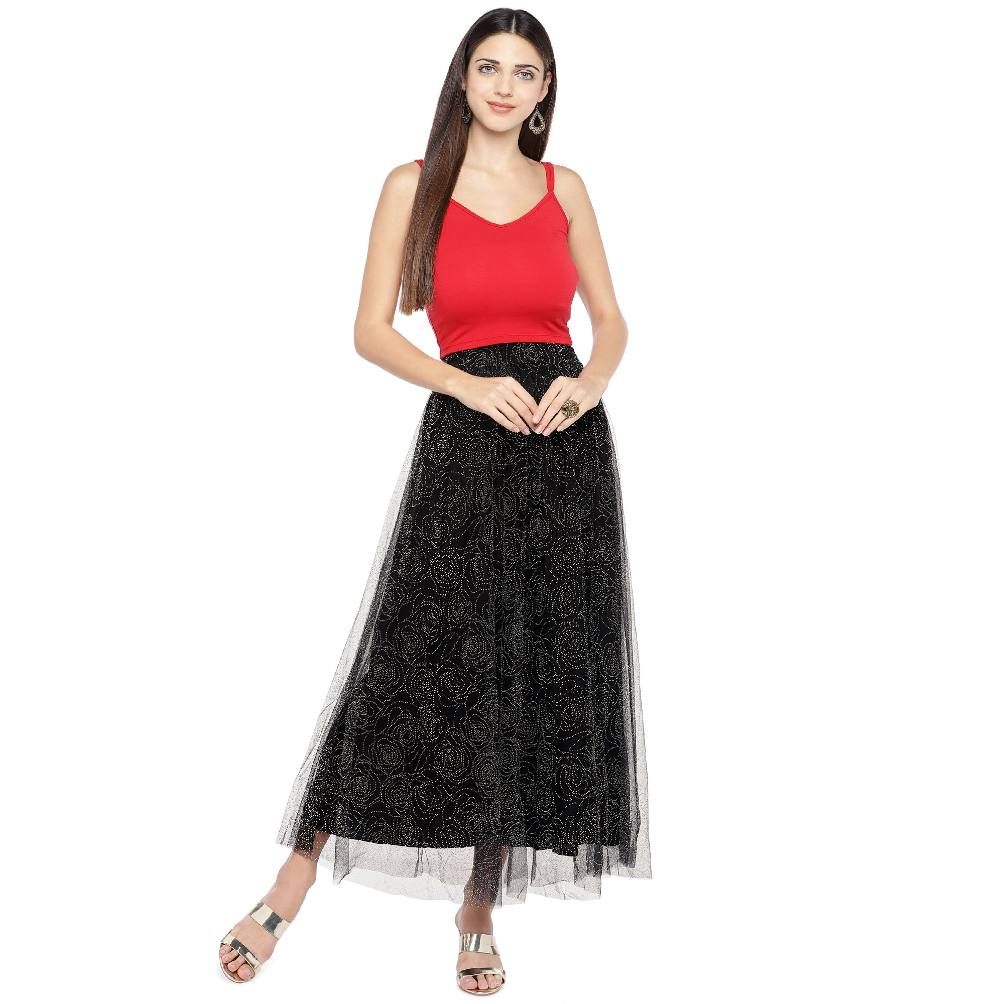 Black Embellished Flared Maxi Ethnic Skirt-4