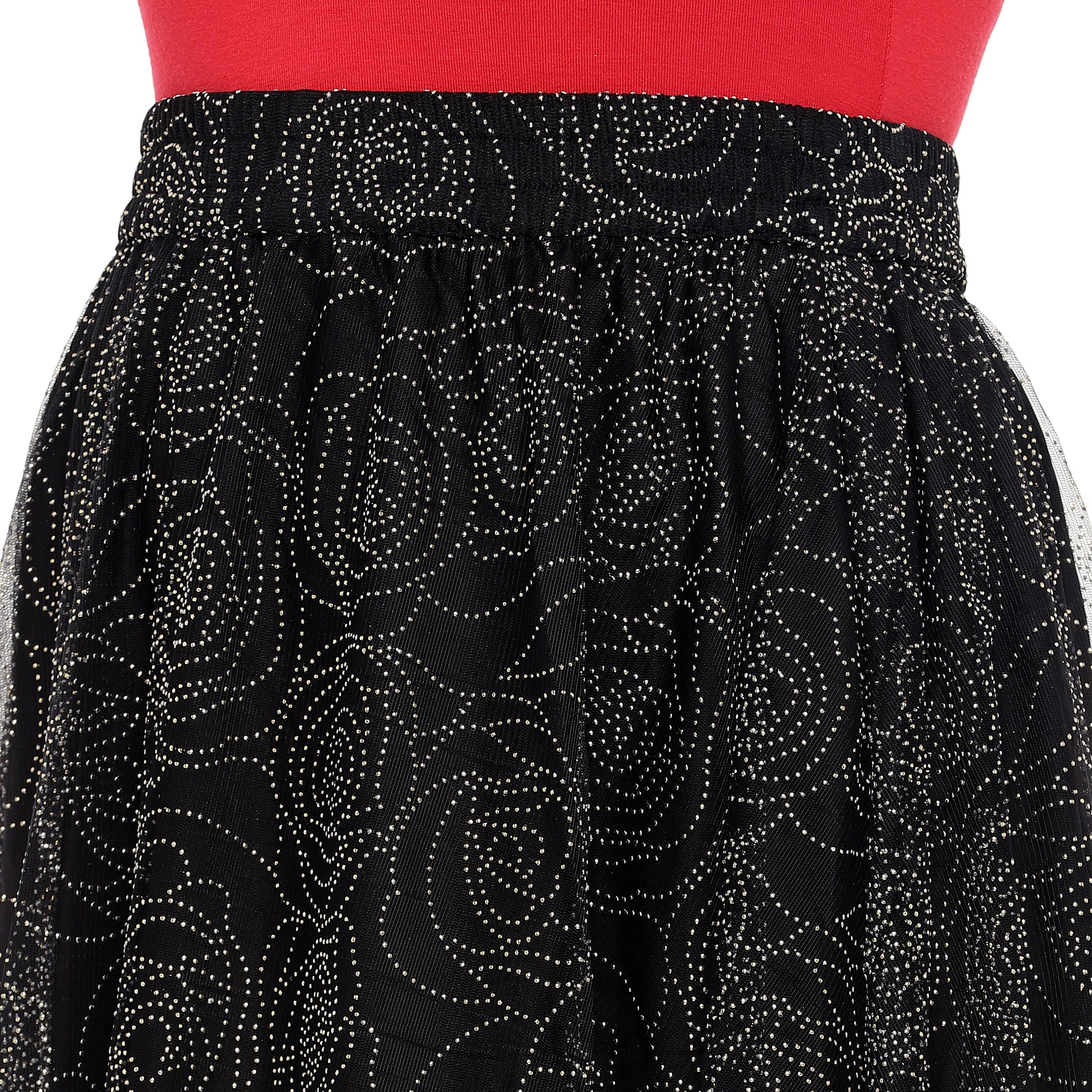 Black Embellished Flared Maxi Ethnic Skirt-5