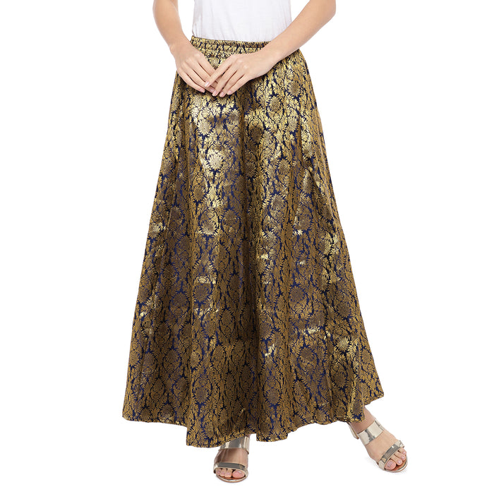 Navy Blue & Gold-Toned Self-Design Flared Maxi Ethnic Skirt-1