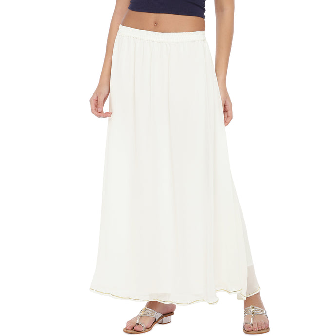 White Solid Maxi Skirt-1