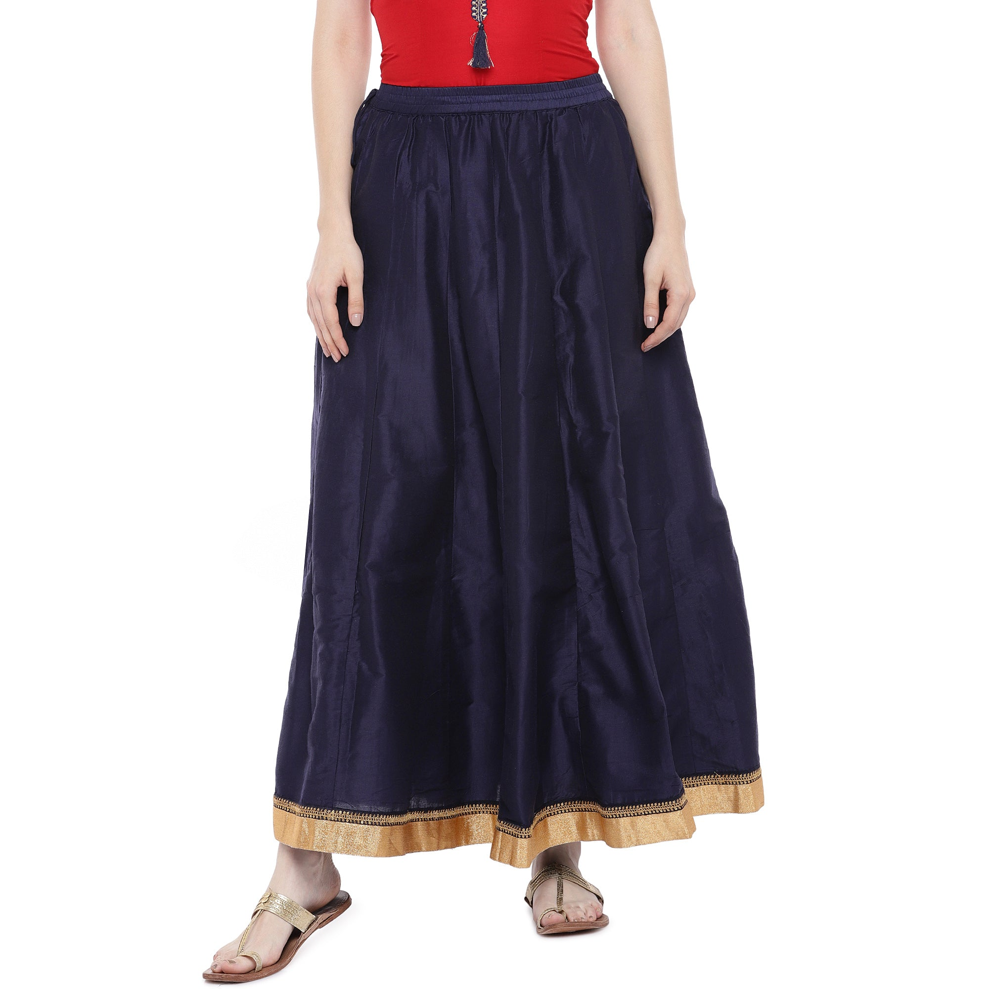 Navy Blue Solid Maxi Skirt-1