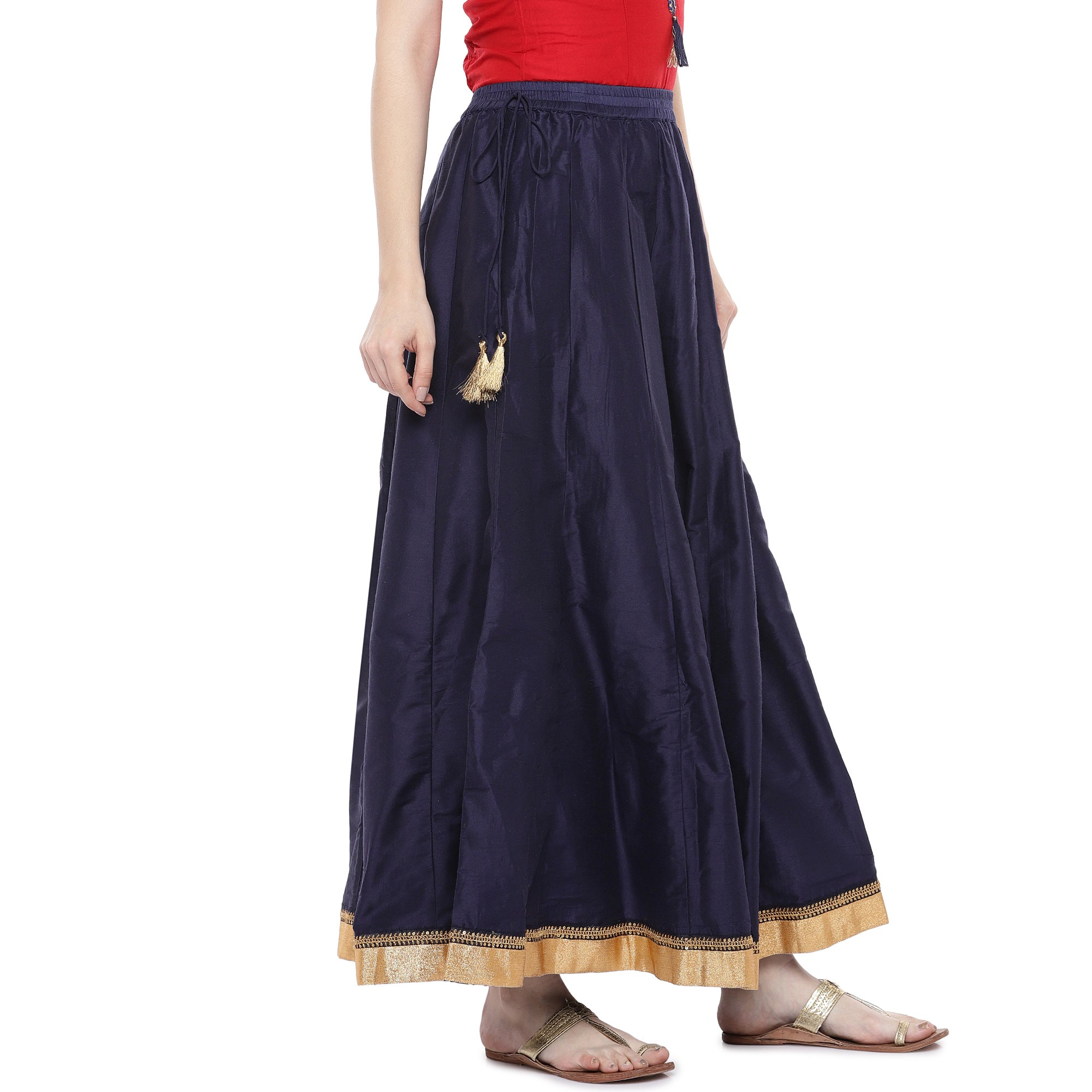 Navy Blue Solid Maxi Skirt-2