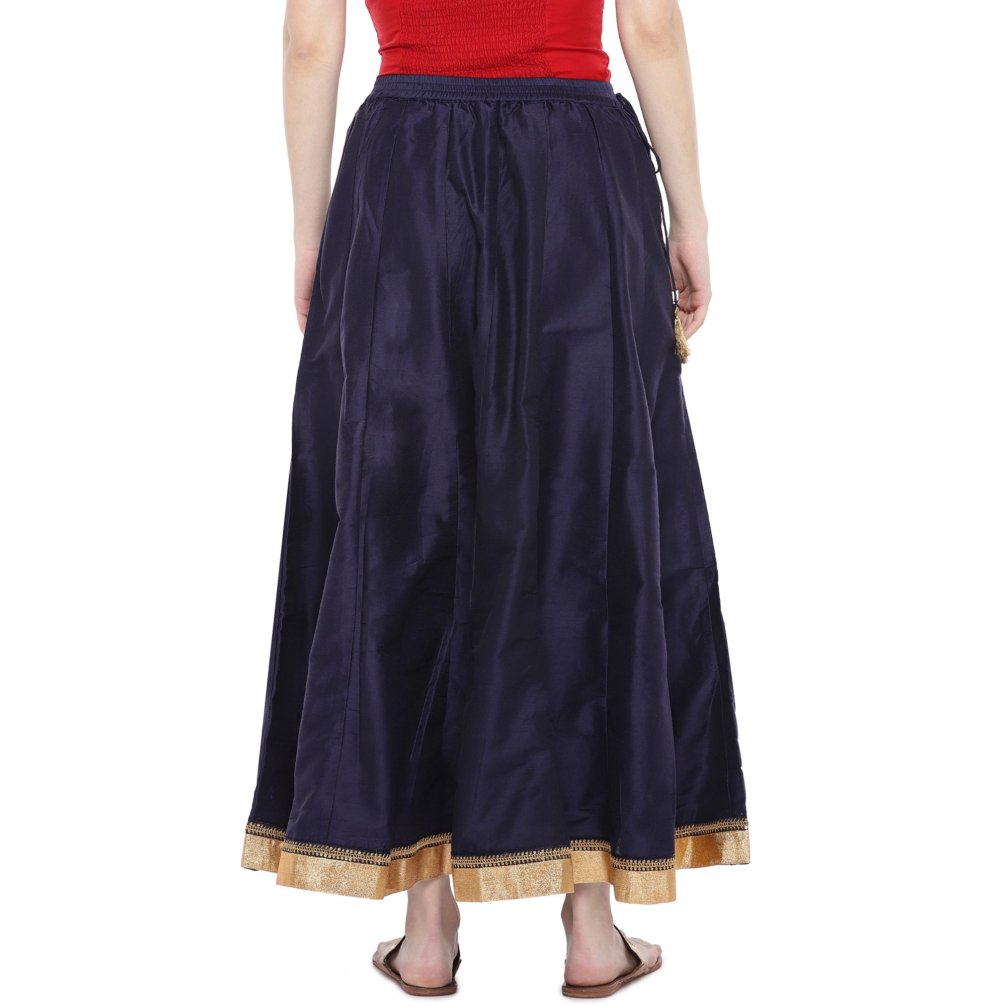 Navy Blue Solid Maxi Skirt-3