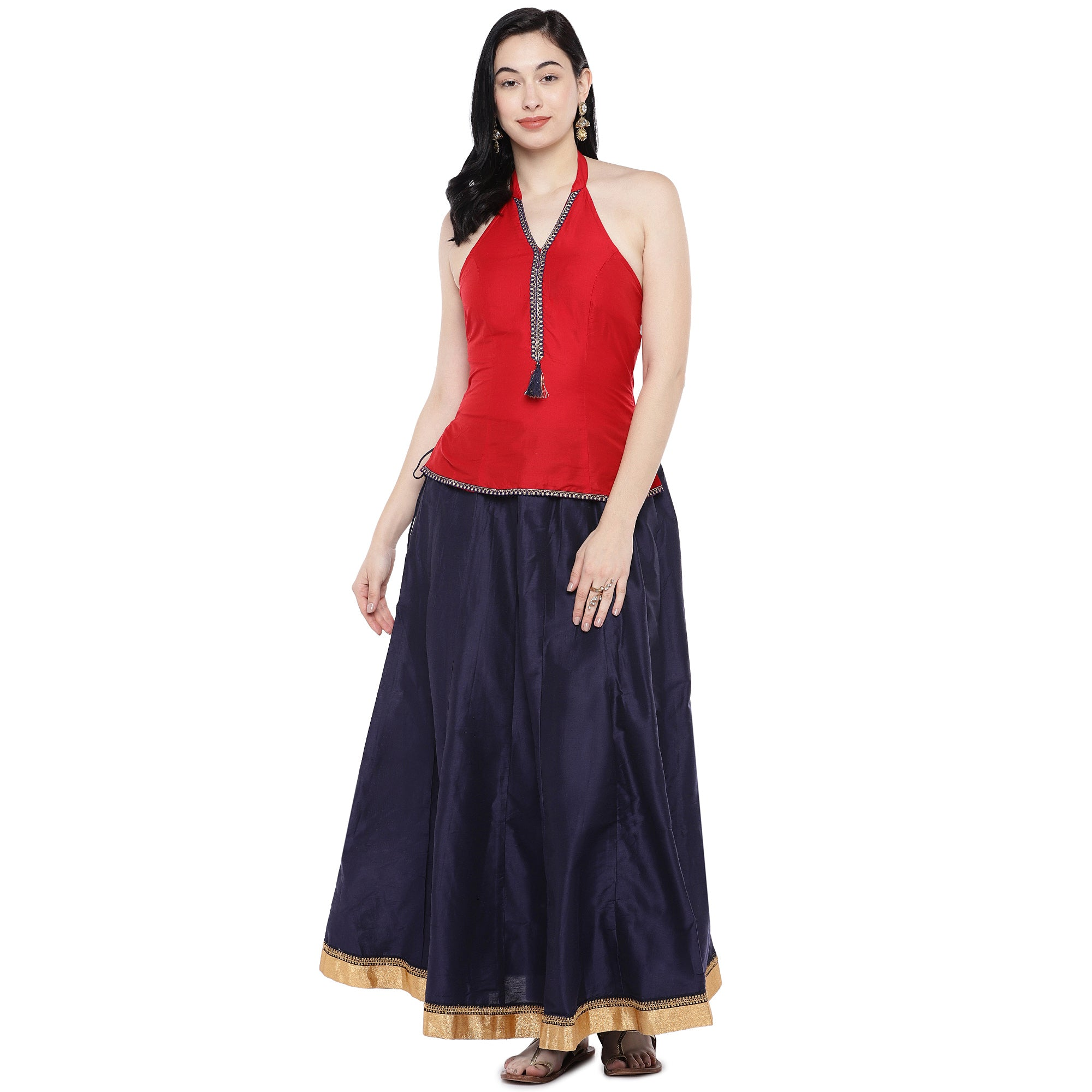 Navy Blue Solid Maxi Skirt-4