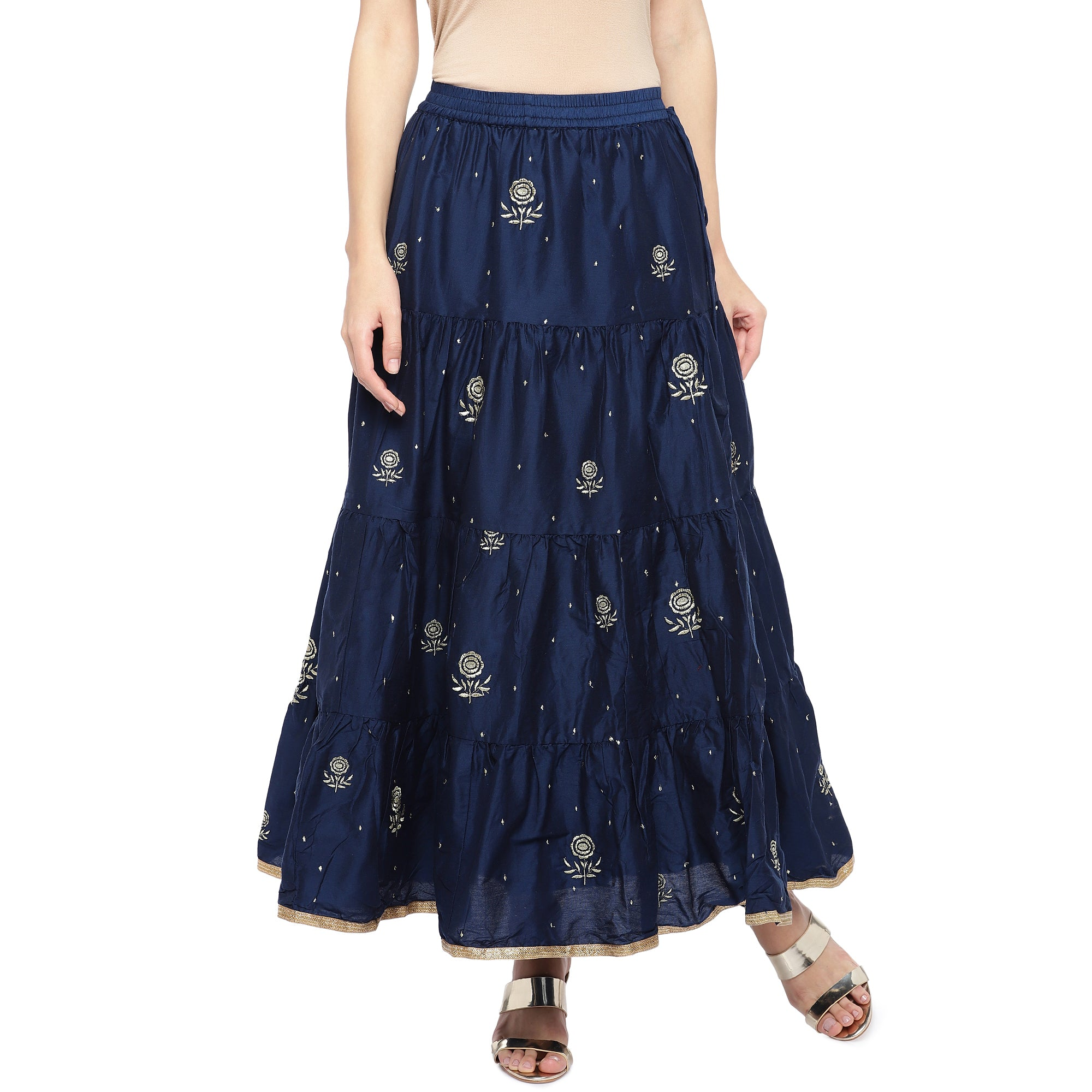 Navy Blue Embroidered Flared Maxi Ethnic Skirt-1