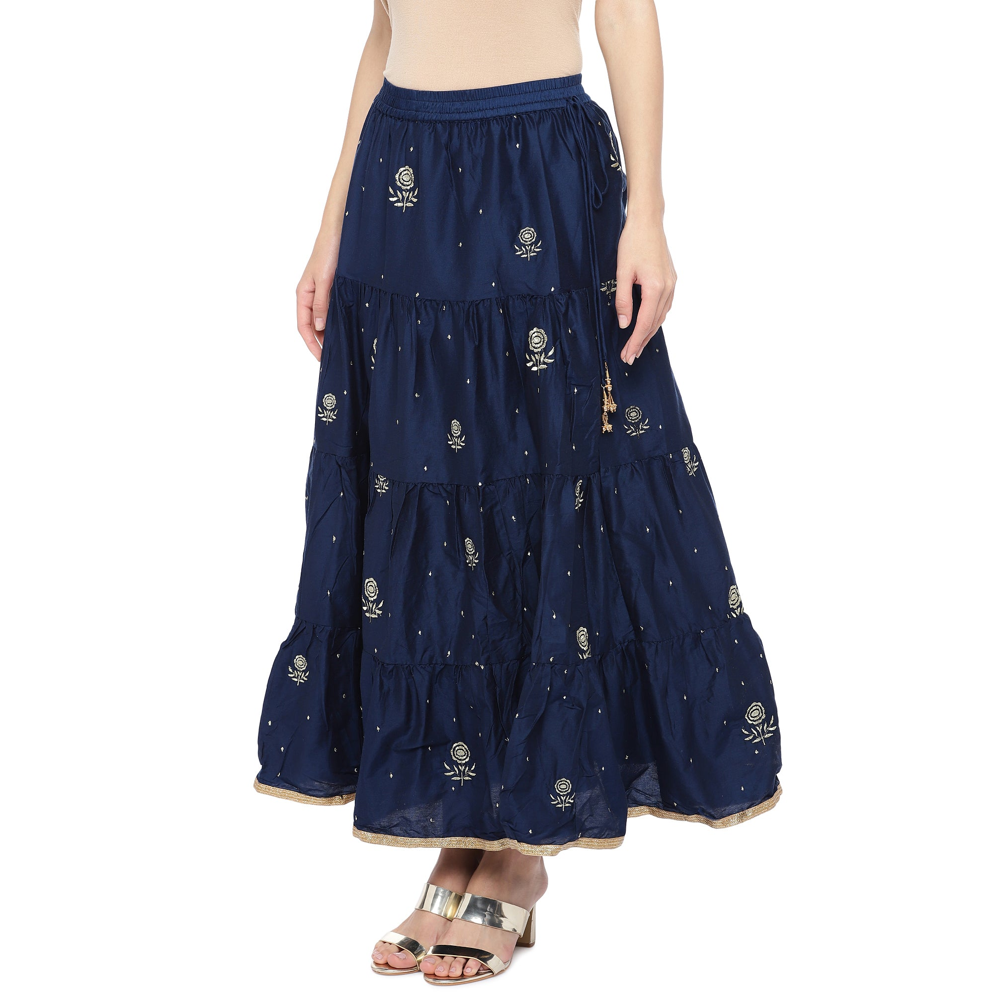 Navy Blue Embroidered Flared Maxi Ethnic Skirt-2