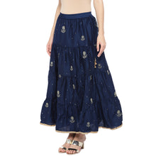 Load image into Gallery viewer, Navy Blue Embroidered Flared Maxi Ethnic Skirt-2