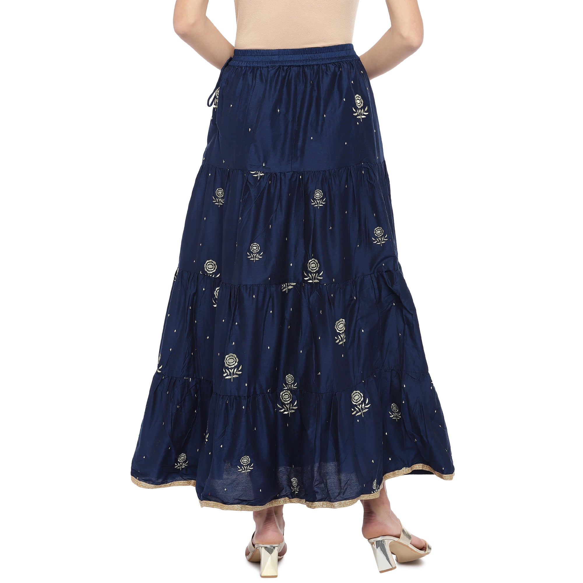 Navy Blue Embroidered Flared Maxi Ethnic Skirt-3